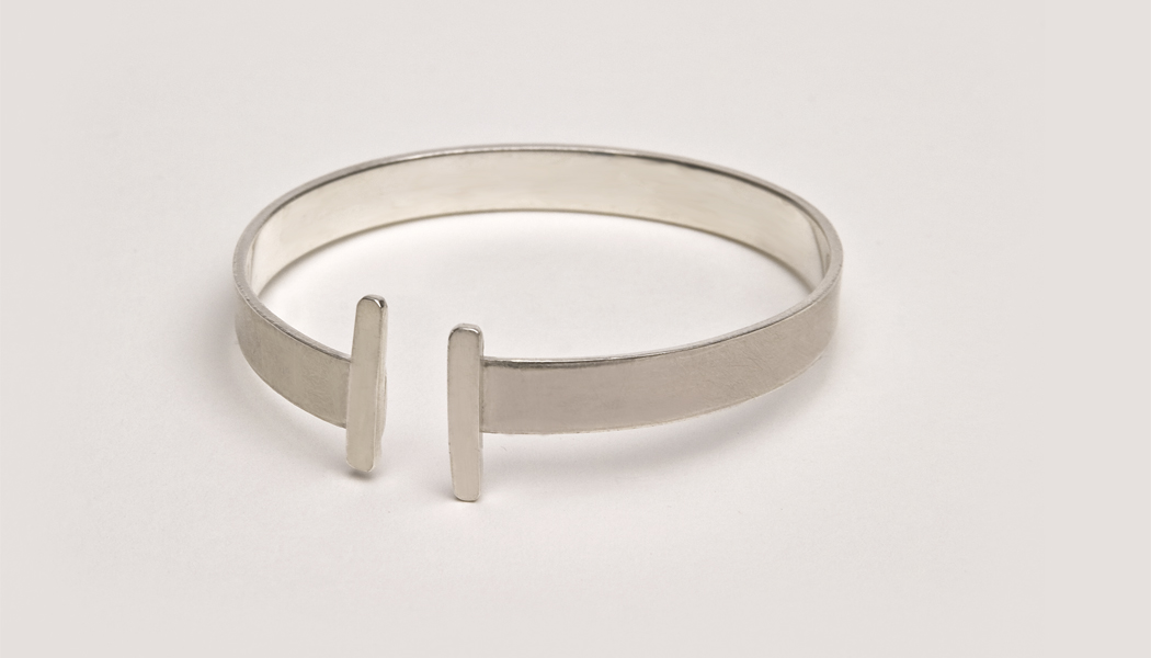 silver bracelet with contrasting matt and polished finish