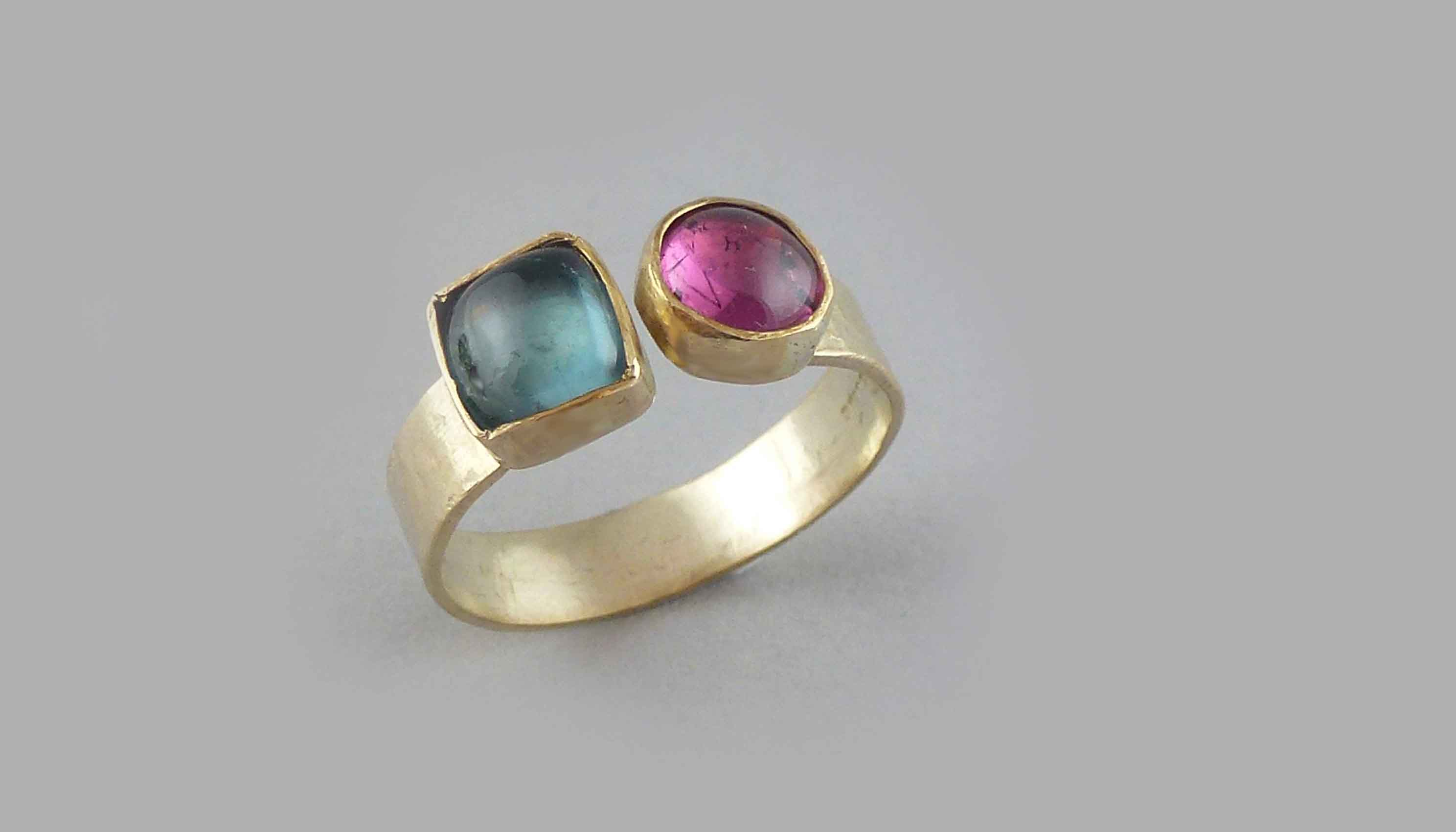 9ct-gold-pink-and-green-tourmaline ring