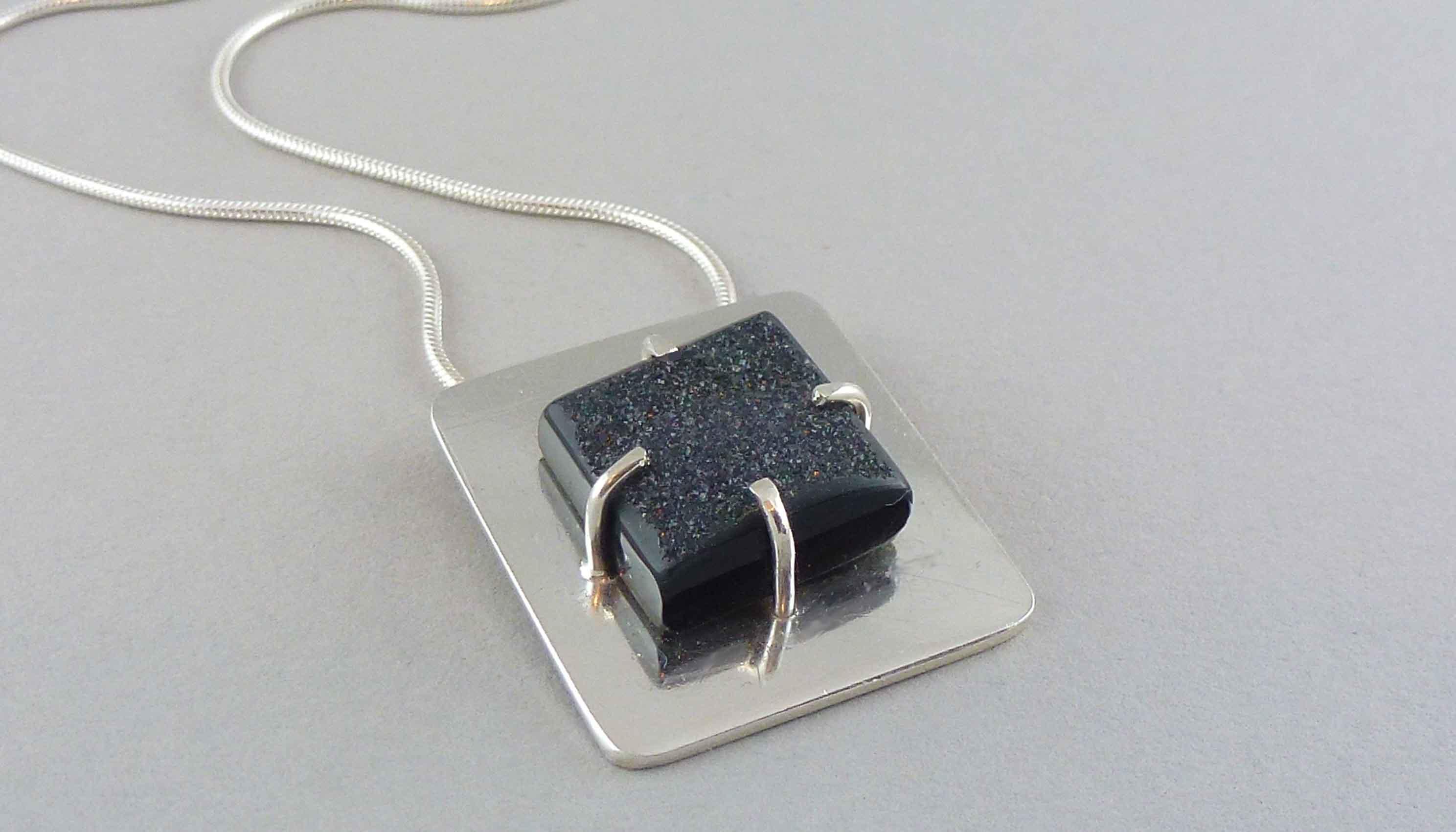 silver square black druzy pendant
