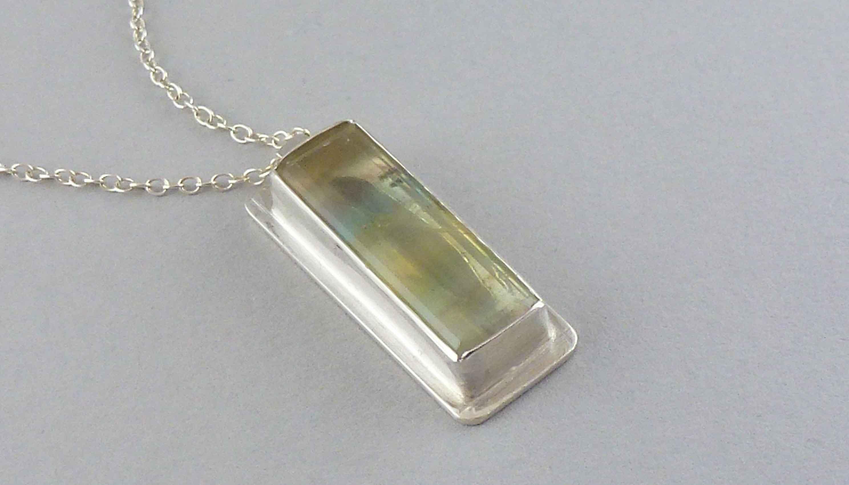 silver rectangular fluorite pendant