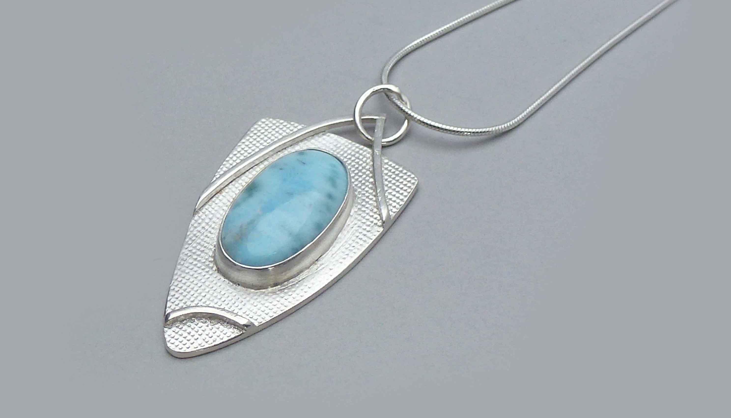 silver-larimar-pendant