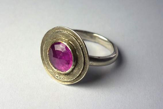 oxidised silver ruby ring