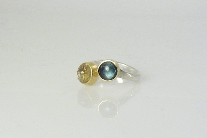 tourmaline quartz silver ring
